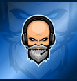 old beard man esport logo with headset vector image vector image