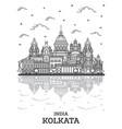 outline kolkata india city skyline with historic vector image