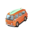 Retro bus with a surfboard vector image