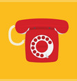 retro phone with dial dial on a white background vector image