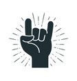 rock symbol hand gesture cool party respect vector image vector image