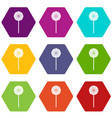 round candy icon set color hexahedron vector image vector image