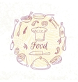 Round card with outline food icons Doodle vector image