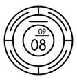round modern clock icon outline style vector image vector image