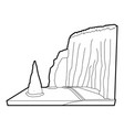 sea cliff icon outline style vector image vector image