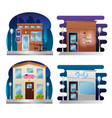 set buildings facades with neon labels vector image vector image