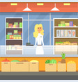 shopping in a mall cartoon peopple vector image