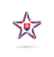 star with slovakia flag colors and coat arms on vector image