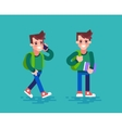 Student in different poses Cartoon character vector image