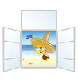 sun on the beach and window vector image