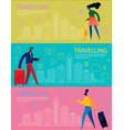 traveling concept banners trendy character design vector image vector image