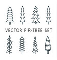tree icon set pine line linear outline vector image vector image