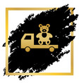 truck with bear golden icon at black spot vector image vector image