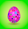 violet easter egg with colorful flowers eps10 vector image