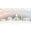 washington dc usa city skyline in paper cut style vector image vector image