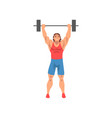 weightlifter rising barbell male athlete vector image vector image