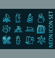wild west set icons blue glowing neon style vector image vector image