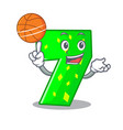with basketball character paper cut number seven vector image