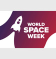 world space week holiday concept template vector image vector image