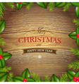 Xmas Wood Background With Holly Berry vector image