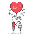 guy kisses girl couple in love holding red heart vector image