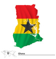 Map of Ghana with flag vector image