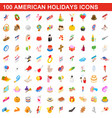 100 american holidays cons set isometric 3d style vector image vector image