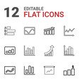 12 statistic icons vector image vector image