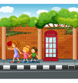 Adult helping kids to cross the street vector image vector image