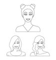 avatar and face outline icons in set collection vector image vector image