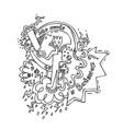 batsman playing cricket doodle vector image