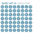 big basic app ui ux and office linear icon set vector image