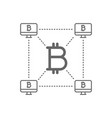bitcoin with decentralized blockchain line icon vector image