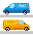 Blue and orange delivery vans isolated vector image vector image