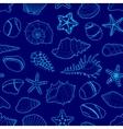 blue pattern sea shells stars stones vector image vector image