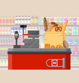 bread products in shopping bag checkout vector image vector image