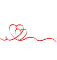 calligraphy two red heart ribbon on white stock vector image vector image
