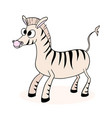 cartoon cute zebra vector image vector image