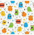 child seamless pattern with cute little monsters vector image vector image