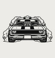 custom muscle car front view concept vector image vector image