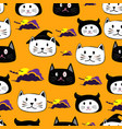cute face cat hand drawn cartoon halloween theme vector image vector image