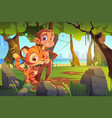 cute monkey and tiger stand together in jungle vector image vector image