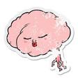 distressed sticker a cartoon brain vector image vector image