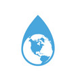 drop of water with our planet vector image vector image