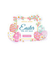 easter spring poster with eggs flowers vector image vector image