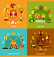 farming square compositions set vector image vector image