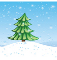 Green fir tree on slope vector image vector image
