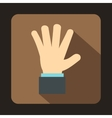 Hand showing five fingers icon flat style vector image