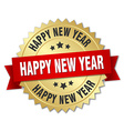 happy new year 3d gold badge with red ribbon vector image vector image