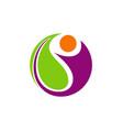 happy people vegetarian abstract logo vector image vector image